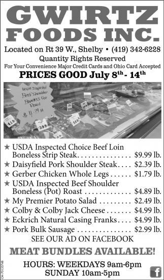 Prices Good July 8th - 14th