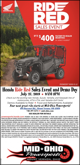 Ride Red Sales Event, July 27, Mid-Ohio Powersports, Mount