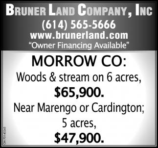 Woods & stream on 6 acres $65,900 Near Marengo or Cardington 5 acres $47,900