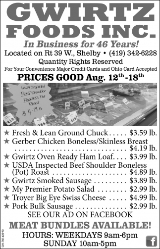 Prices Good July 29nd - Augt. 5th - 11th