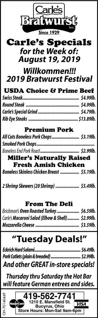 Carle's Specials for the Week of: August 19