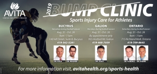 2019 Bump Clinic  Sports Injury Care for Athletes