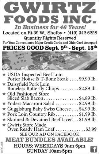 Prices Good Sep. 9th - Sept. 15th