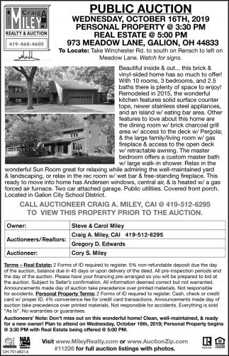 Public Auction - October 16th