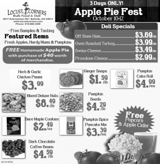 3 Days Only! Apple Pie Fest - October 10 -12