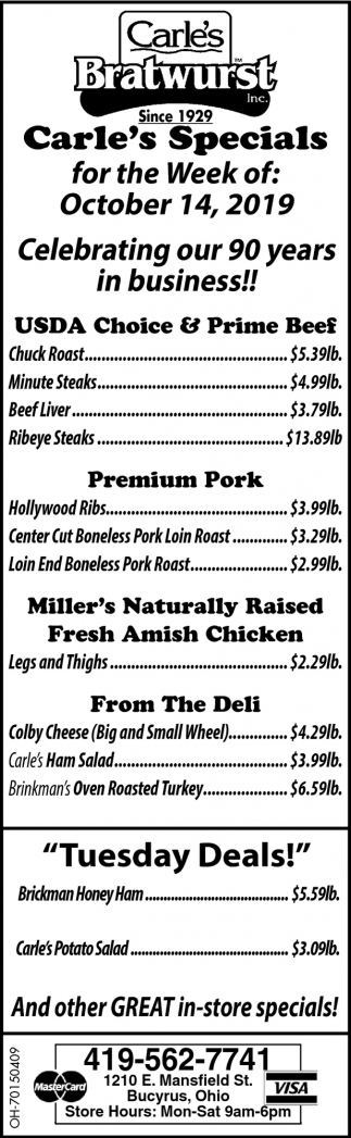 Carle's Specials for the Week of: October 14