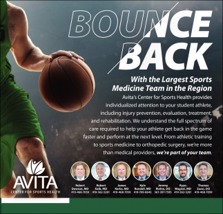 Bounce Back - With the Largest Sports Medicine Team in the Region