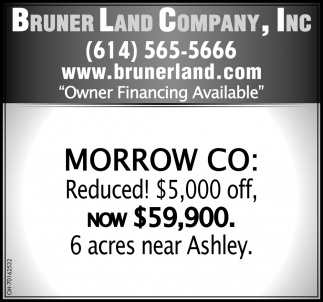 Morrow CO: Reduced! $5,000 off, now $59,900. 6 acres near Ashley