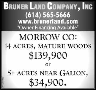 Morrow CO: 14 acres, mature woods $139,900 or 5+ acres near Galion $34,900