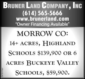 Morrow CO: 14+ Acres, Highland Schools $139,900 Or 6 Acres Buckeye Valley Schools, $59,900