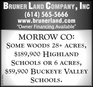 Morrow CO: Some Woods 28+ Acres, $189,900 Highland Schools Or 6 Acres, $59,900 Buckeye Valley Schools