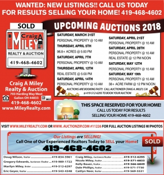 Upcoming Auctions 2018