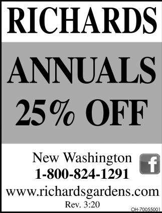 Annuals 25% off