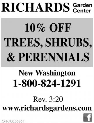 10% off trees, shrubs & perennials