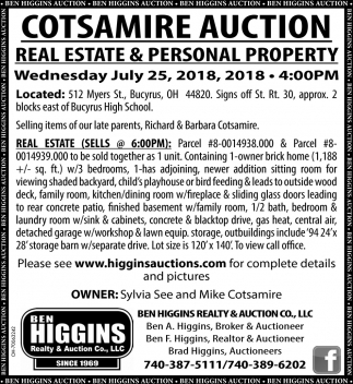 Cotsamire Auction Real Estate & Personal Property