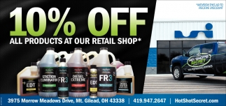 10% off all products at our retail shop