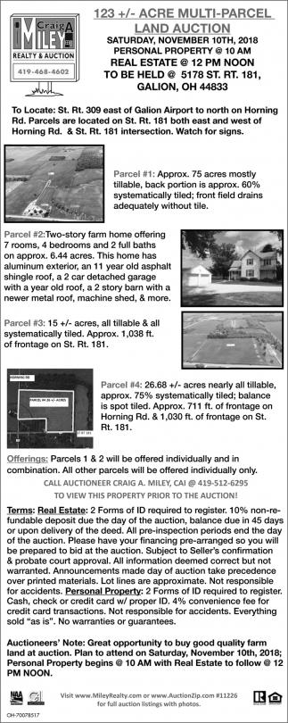 123+/- Acre Multi-Parcel Land Auction