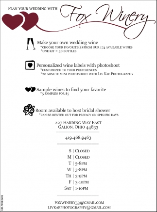 Plan your wedding with Fox Winery
