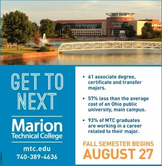 Fall Semester Begins August 27