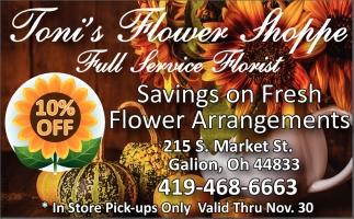 10% off Savings on Fresh Flower Arragements