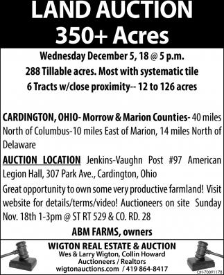 Land Auction 350+ Acres