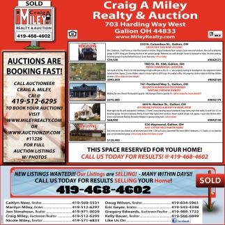 Auctions are booking fast!
