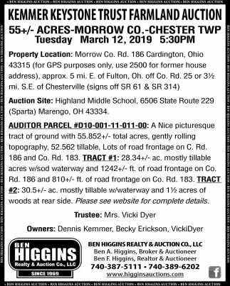 Kenmer Keystone Trust Farmland Auction