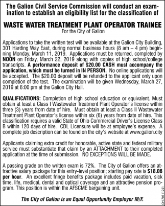 Waste Water Treatment Plant Operator Trainee