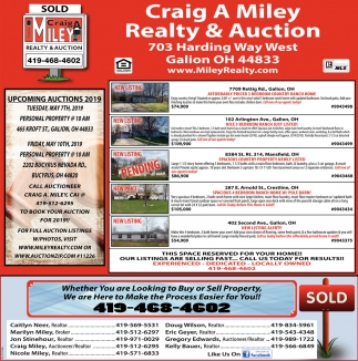 Upcoming Auctions 2019, Craig A Miley Realty & Auction