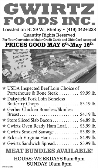 Prices Good May 6th - May 12th