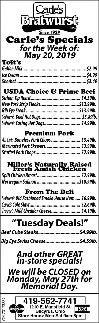 Carle's Specials for the Week of: May 20