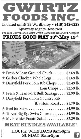 Prices Good May 13th - May 19th