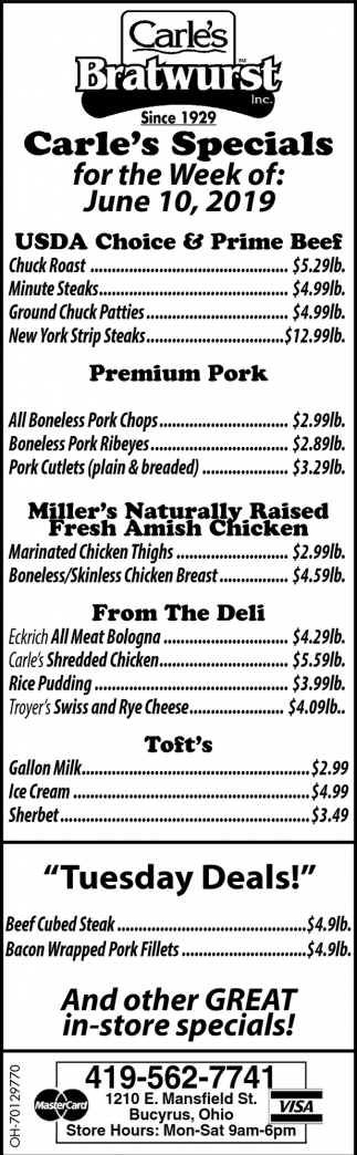 Carle's Specials for the Week of: June 10