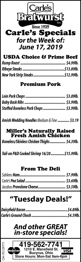 Carle's Specials for the Week of: June 17