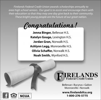Congratulations! Jenna Binger, Katelyn Gouge, Jordan Gran, Ashlynn Legg, Olivia Schaffer, Noah Smith